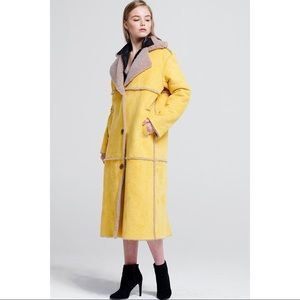 Storets Lucia Lemon Shearling Coat